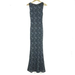 Alice + Olivia Lace Open Back Fitted Maxi Dress